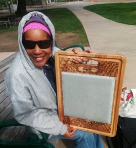 Cookie with the blending board she made