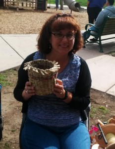 Kelly with basket she wove